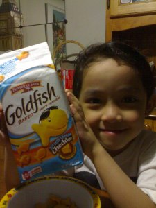This is me showing my goldfish cracker