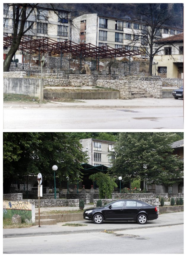 A combination of pictures show the scene of a restaurant in the year 1998 (at top) and a newly-constructed cafe in the year 2012 (at bottom) after the Srebrenica massacre in Srebrenica. REUTERS/Staff