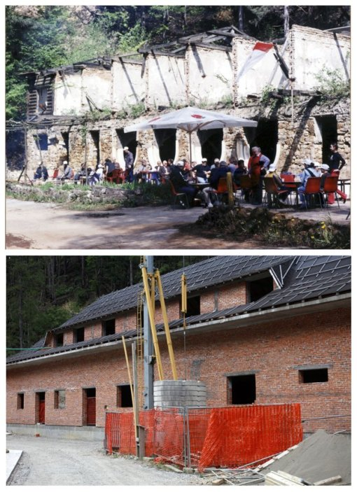 A combination of pictures show the scene of a cafe during the year 1997 (at top) and 2012 (at bottom) after the Srebrenica massacre in Srebrenica. REUTERS/Staff