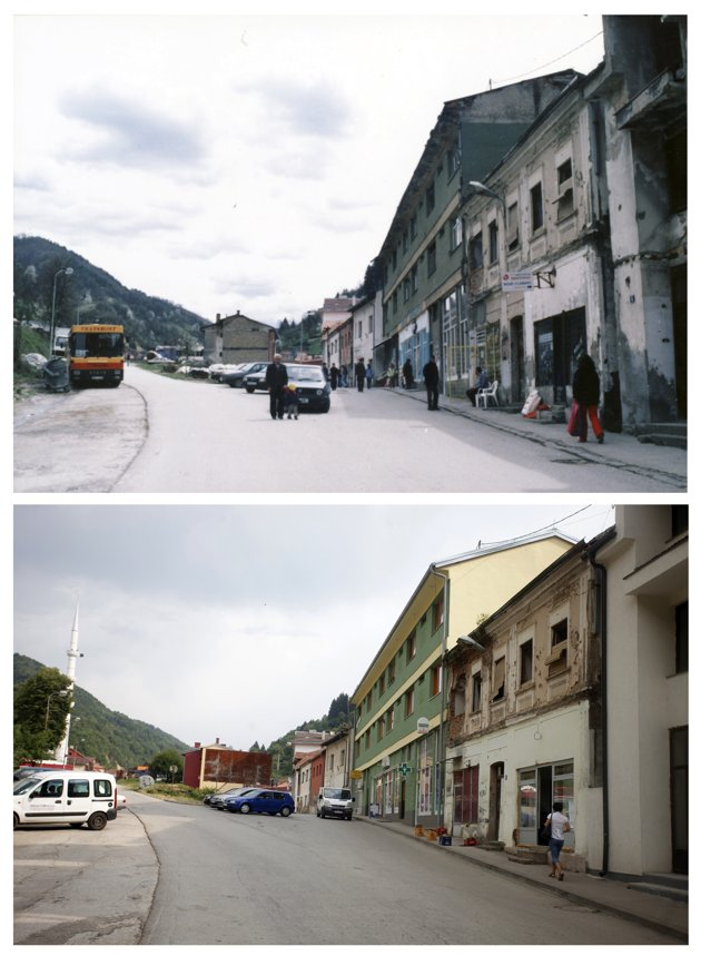 A combination of pictures show a main street in the year 1998 (at top) and in 2012 (at bottom) after the Srebrenica massacre in Srebrenica. REUTERS/Staff