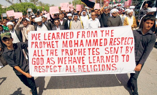 Protesters against Innocence of Muslims' in Basra, Iraq Sept 12, 2012 (Picture from Utusan)