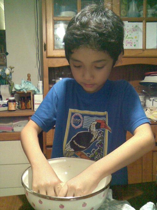 I was kneading the dough.