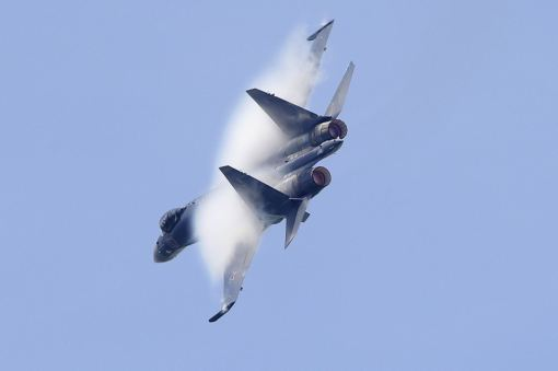 A Sukhoi Su-35 fighter takes part in a flying display, during the opening of the 50th Paris Air Show, at the Le Bourget airport near Paris, June 17, 2013. The Paris Air Show runs from June 17 to 23. REUTERS/Pascal Rossignol
