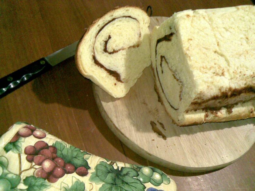 A piece of freshly baked Cinnamon Bread