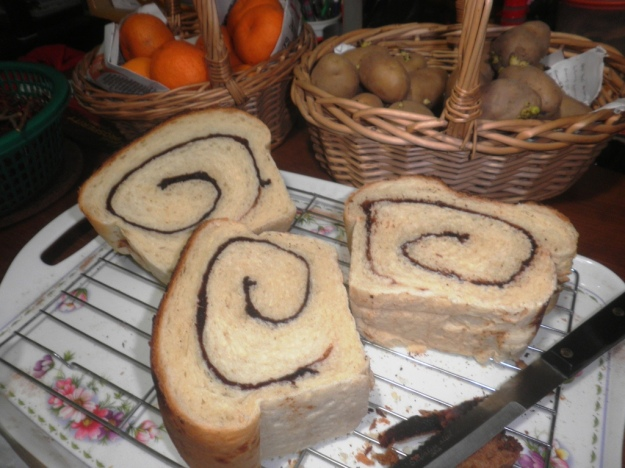 Thick slices of tasty cinnamon bread.