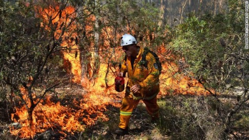 A firefighter hoses flames in trees near houses at Bilpin, 75km (47 miles) west of Sydney on Tuesday, October 22.