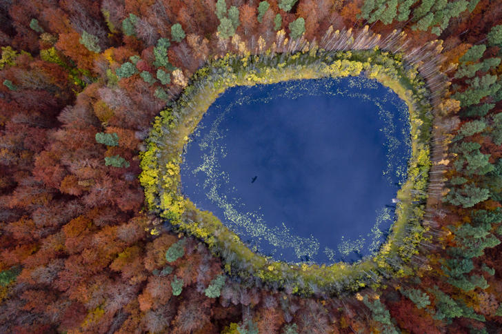 Pomerania, Poland — Photograph by Kacper Kowalski, Panos Pictures — Fall colors blaze out in concentric rings from a lake in eastern Pomerania, Poland. The region on the south shore of the Baltic Sea is largely covered with farmlandâand vast swaths of forest.