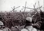 An archive picture shows French soldiers standing in German trenches seized after being shelled on the Somme front, northern France in 1916. (REUTERS/Collection Odette Carrez)