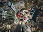 Daredevils, Alexander in red and Volodya in whitetaking a selfie over Dubai. (Alexander Remnex/Caters News)