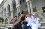 A photo of Tok Him(2nd R), me(R) and other activists.