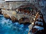 Ristorante Grotta Palazzese, Bari, Puglia. Dine Batman style in this astonishing cave restaurant. Carved out of limestone rocks overlooking the Adriatic Sea, it sits 74 feet above sea level. (Grotta Palazzese Hotel)