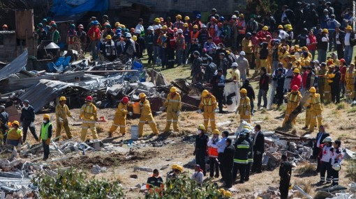 Rescue workers form a human chain, passing buckets of rubble, as they clear the wreckage of a children's hospital, caused by a gas tank truck explosion in Cuajimalpa on the outskirts of Mexico City, Thursday, Jan. 29, 2015. The powerful explosion shattered the hospital on the western edge of Mexico's capital, killing at least two and injuring dozens. (AP Photo)