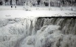 The U.S. side of the Niagara Falls is partially frozen after temperatures in the area dropped to -2F.