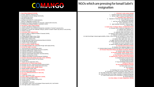 Highlighted in red are the NGOs that matches both lists.