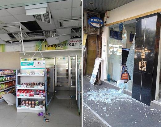 KEADAAN di dalam sebuah premis di Ranau selepas gempa bumi pagi tadi. Satu gempa bumi dengan kekuatan 5.9 pada skala Richter berpusat di 6.1 utara, 116.6 timur, kira-kira 16 kilometer di barat daya Ranau berlaku jam 7.15 pagi tadi. - Foto ihsan pembaca BH