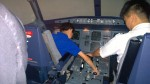 The pilot is briefing me on how to fly the Airbus A320.