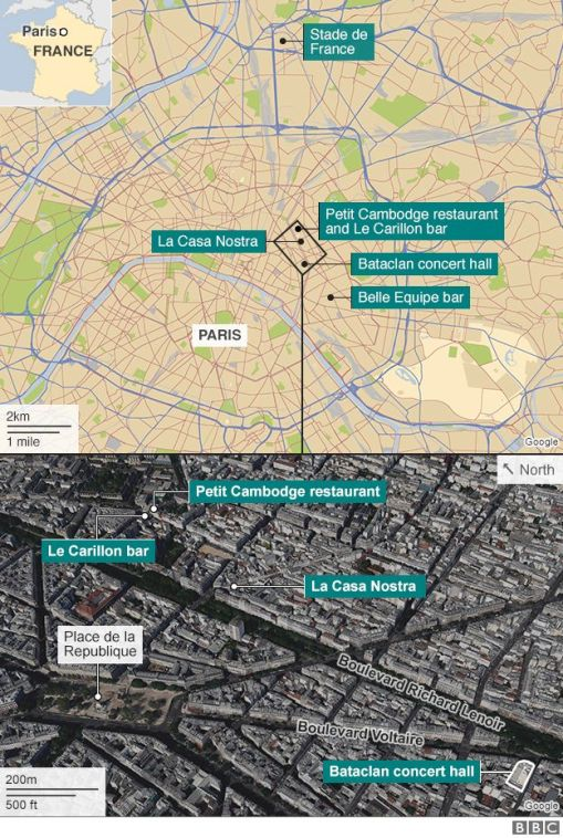 The locations of the tragic Paris attacks, Friday November 13, 2015.