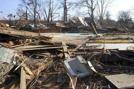 Debris is seen after a powerful tornado struck Clarksdale, Mississippi, December 24, 2015.    REUTERS/Justin A. Shaw