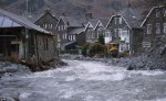 Raging flood waters can be seen racing through the village of Glenridding this morning after the nearby River Beck burst its banks again. (Photo by DailyMail)