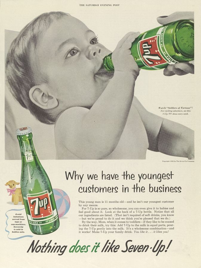 Using babies to sell cigarettes was surprisingly common in the 1950s. Malboro ran an entire campaign using 'talking babies', aiming to sell smoking as a suitable family-friendly activity. (Malboro 1953)