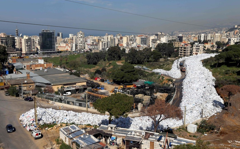 A view of the built up pile of waste on a street in Beirut's northern suburb of Jdeideh