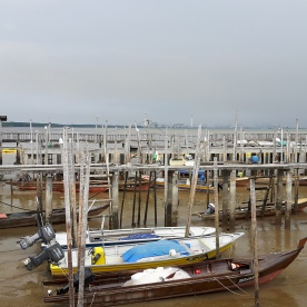 Fishermen's boats at the jetty next the Tanjung Piai Resort.