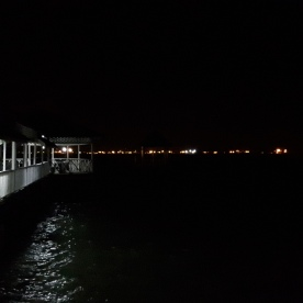 An amazing sight; the straight line of the bright lights coming from the ships queuing to enter the port.