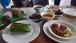 The Nasi Bamboo set, laksa, barbecued venison, rendang and sayur bayam.
