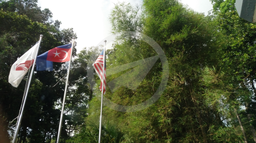 Flag of Johor flown upside down at Desaru Tunamaya Beach & Spa Resort