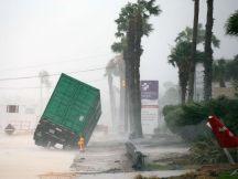 Outside of the CHRISTUS Spohn Hospital in Corpus Christi, Texas, Aug. 25, 2017, as Hurricane Harvey moves towards the Texas coast.