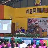 A photo of me giving a speech to the students of SMKTSMR..