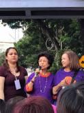 Tun Siti Hasmah (centre) speaking, with her daughter Marina Mahathir (right) beside her.