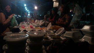 A long row of delicious kuih and the wonderful night market atmosphere at Pasar Malam Dungun, Oct. 24, 2017.