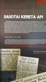 Laporan tentang sabotaj keretapi oleh pengganas komunis.