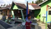 A house sits damaged after an earthquake, in Donggala, central Sulawesi, Indonesia. Picture: AP   Source:AP