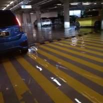 Kawasan parkir IKEA Cheras dinaiki air akibat hujan lebat yang berlaku di sekitar Lembah Klang - Gambar diambil daripada media sosial