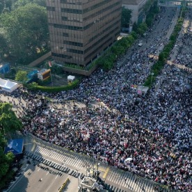 An aerial photo shows protesters gathered to demonstrate against Indonesia's President Joko Widodo's victory in the recent election in Jakarta on May 22, 2019. (Photo: AFP)