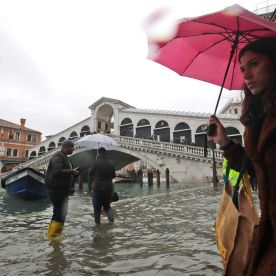 The high tide is seen near the Rialto Bridge in Venice.Luca Bruno/AP