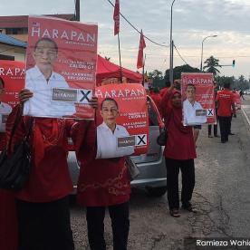 Penyokong Pakatan Harapan menunjukkan sokongan mereka terhadap calon Pakatan Harapan di Tanjung Piai hari ini - Gambar ihsan Malaysiakini