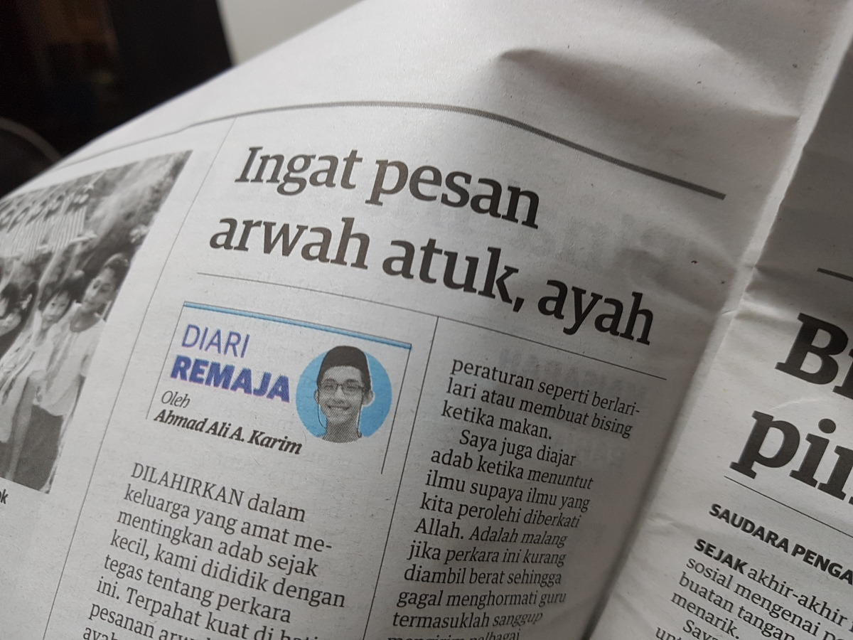 Diari Remaja @ Utusan Malaysia: Ingat Pesan Arwah Atuk,Ayah