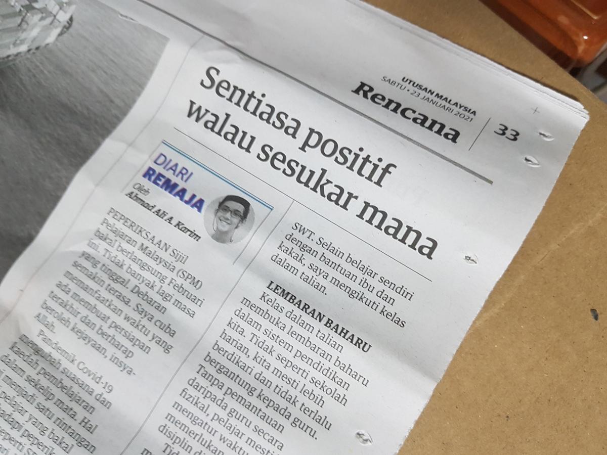 Diari Remaja @ Utusan Malaysia: Sentiasa Positif Walau SesukarMana