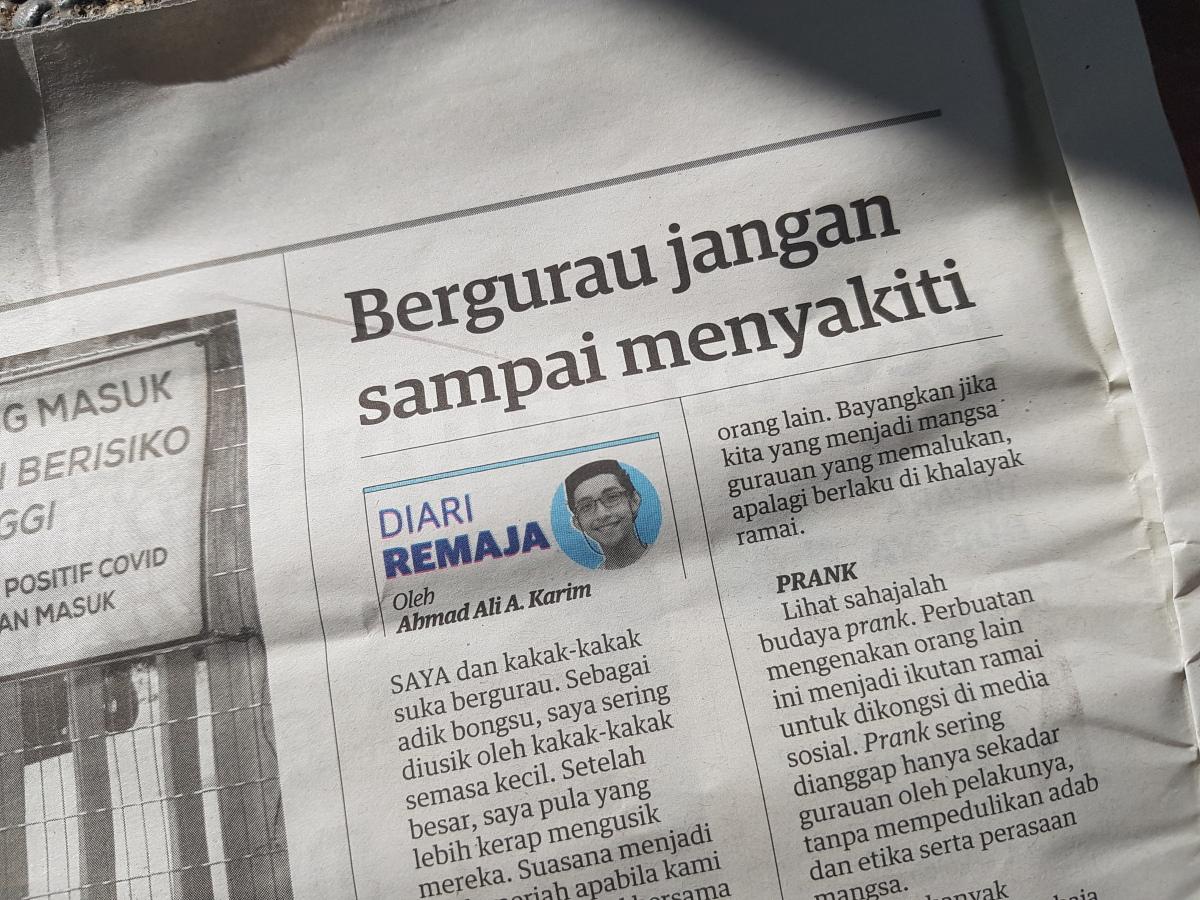 Diari Remaja @ Utusan Malaysia: Bergurau Jangan SampaiMenyakiti