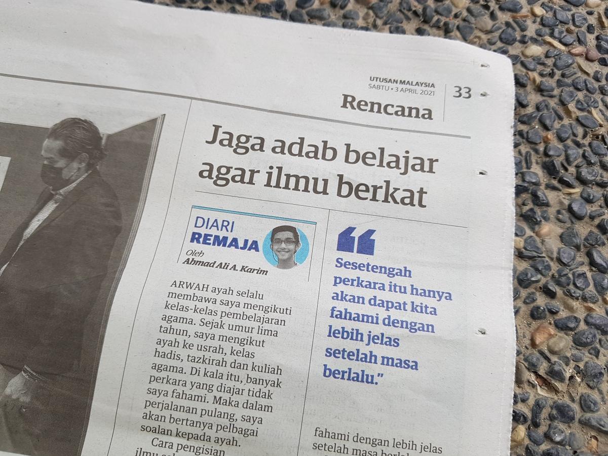 Diari Remaja @ Utusan Malaysia: Jaga Adab Belajar Agar IlmuBerkat