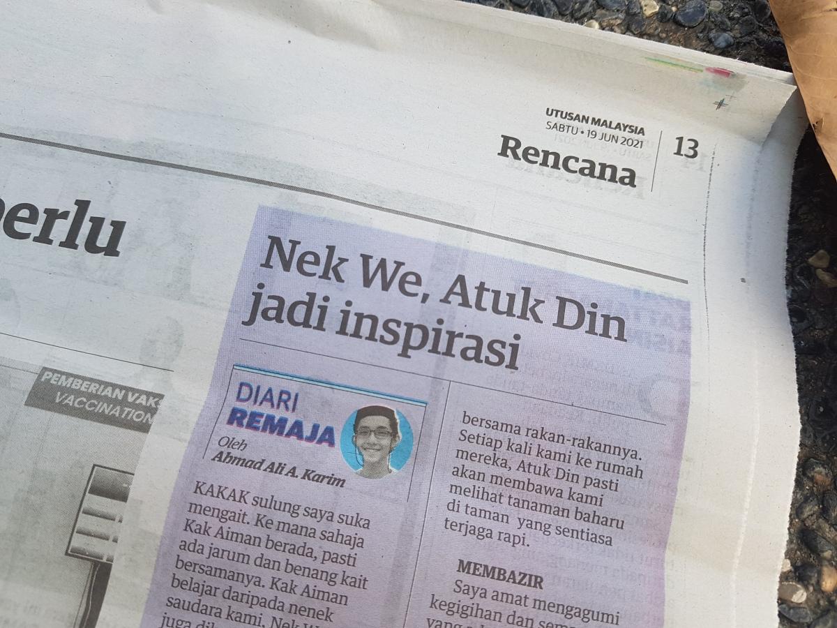 Diari Remaja @ Utusan Malaysia: Nek We, Atuk Din JadiInspirasi